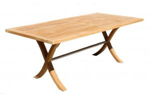 Teak and Stainless Steel Outdoor Table 2000x1000mm $2200