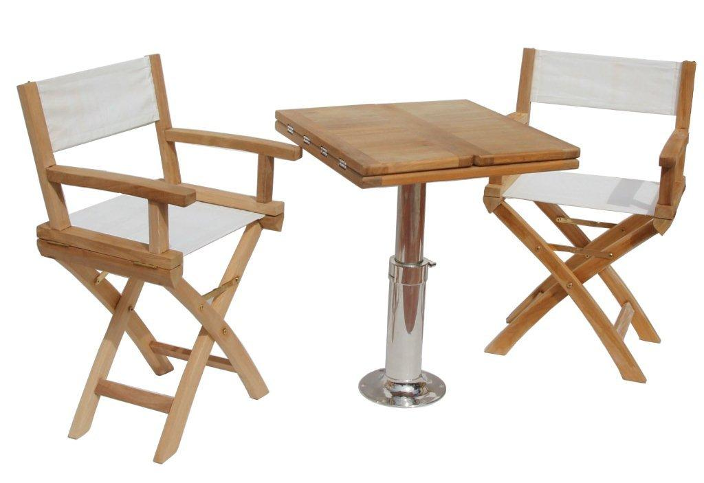 Teak Boat Chairs with 600×600 folding table