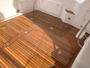 Repaired teak deck