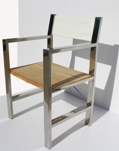 Stainless steel and teak folding chair 2